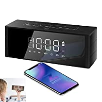 Bluetooth Speaker Alarm Radio, ZealSound Portable 10W Bluetooth Wireless Speaker with LED Clock, FM Radio, Big Sound, Bass and Large Dimmable Display,4000mAH Long Battery 24 Hours Playtime(Black)
