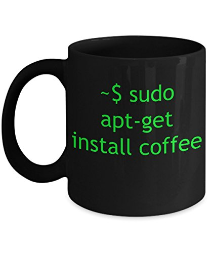 Mug Linux Apt-Get Install Coffee - Black Ceramic Tea Cup - Gift for computer nerd husband, geek men, programmer boyfriend