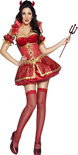 Halloween Costume Devil Ladies (Smiffy's Women's Fever Deluxe Devil Costume, Dress, Corset Overskirt, Collar, Horns and Sleeves, Halloween, Fever, Size 6-8,)