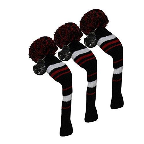 ワードローブ品啓発するゴルフハイブリッド/ユーティリティヘッドカバー、ブラックホワイトレッドストライプスタイル、3個パック、交換可能な番号タグ