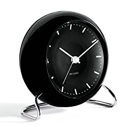 Arne Jacobsen City Hall Table Alarm Clock in Black