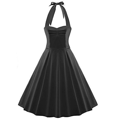 Tecrio Vintage 1950's Marilyn Monroe Style Rockabilly Halter Party Swing Dress L Black ()