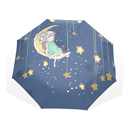 THUNANA Girl Sleeping on Moon with Stars 3 Folds Windproof Anti-UV Umbrella