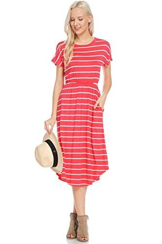 - Dresses Women Short Sleeve Striped Flare Midi Dress Pockets in Regular Plus -Coral/Ivory (2X)