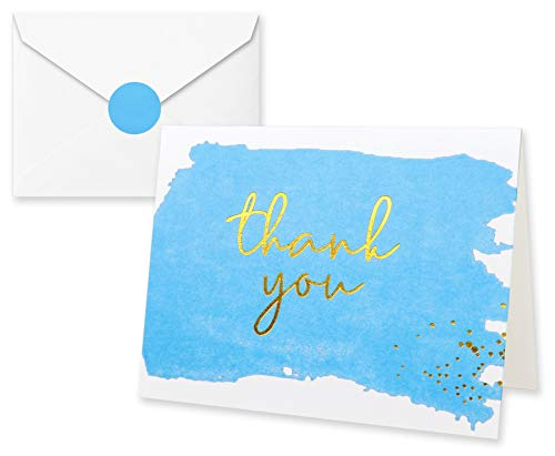 Thank You Cards with Envelopes and Stickers - Kraft Paper Blue, Boy Baby Shower Notes for Gratitude - 50 Single Design Cards for Wedding, Business, Formal, Bridal Shower and All Occasions 3.75x5 Inch]()
