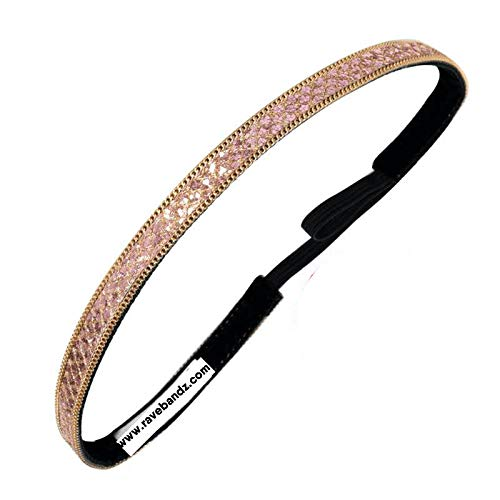 RAVEbandz! Brilliance Collection - Bling BANDZ - for Fashion Lifestyle or Workouts - Jeweled Non Slip Velvet Lined Elastic Headbands (Bling Around The Rosie) ()