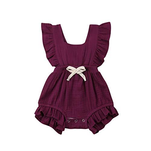 - Newborn Baby Boys Girls Bowtie Short Sleeve Romper Bodysuit Playsuit Outfits (0-6 Months, Red Wine)