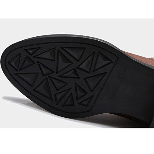 Américaine dames bottes d'hiver marée Martin bottes dentelle chaussures bouche profonde style punk brun rond PU chaussures à la main
