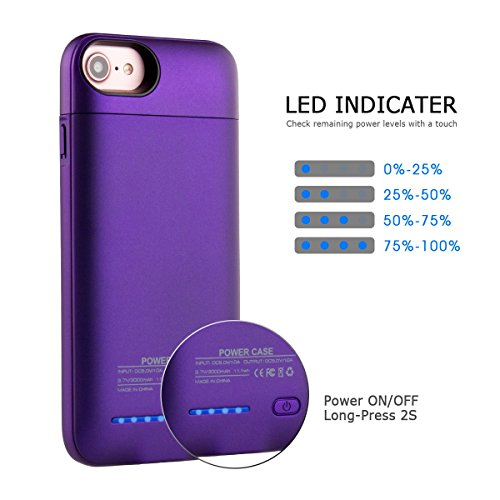 iPhone 6s 7 Battery circumstance iValux Unique constructed bear Shockproof Bumper iPhone 6s 7 Battery circumstance Backup 3000mAh External ability Bank Charger For iPhone 47 Purple Battery Charger Cases