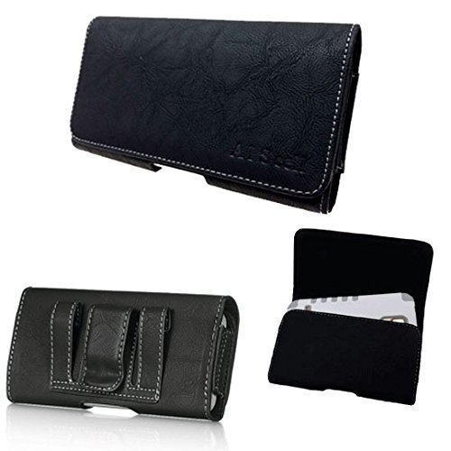Huawei Ascend Mate 2 / Ascend XT ~ Premium Black Suede Texture Leather Pouch Holster Carrying Case with Magnetic Closure Belt Clip/Belt Loops {Great fit thin protective cover or naked phone}(BK Suede)