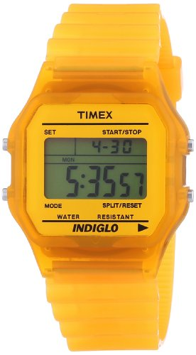 - Timex Trend Unisex Digital Watch with LCD Dial Digital Display and Orange Resin Strap T2N807PF