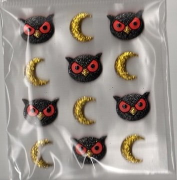 Recollections 3d Resin Halloween Owl Faces Stickers -