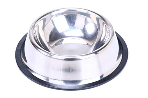 xiaoxiaoland Stainless Steel Pets Dog Travel Food Bowls for Cats Dogs Pink Outdoor Drinking Water Pet Dog Dish Feeder Tableware,Stainless Dog ()