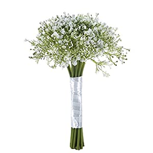 MARJON FlowersBaby Breath Artificial Flowers Wedding Bridal Bouquet Gypsophila Flowers with Satin Ribbon for Wedding Party Home Decoration, White 108