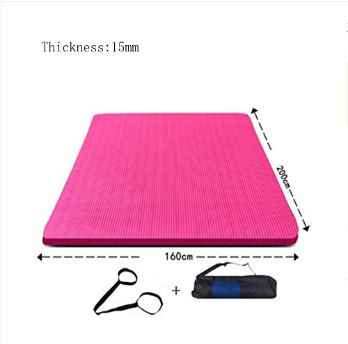Mdck Fitness Mat,200cm Double Pad Yoga Mats Thickened 15mm Wide 160cm Yoga Mats