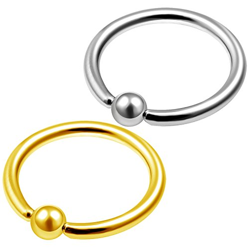 2Pcs Anodized Steel 18 gauge 3/8 10mm captive ring Piercing Jewelry Eyebrow Cartilage Tragus Nose Septum 2.5mm Ball M1441 -