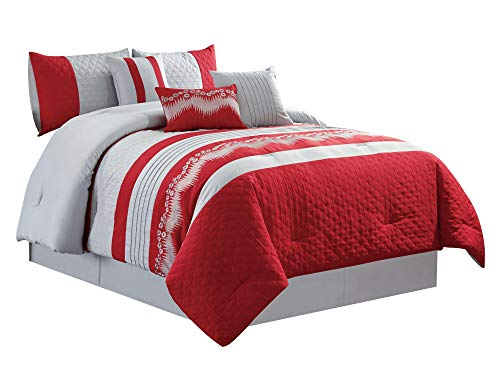 WPM Embroidered 7 Piece Bedding Set, Silver Grey, Red Comforter with Bed Skirt, Pillow Shams and Accent Pillows Size Bed in a Bag-WAKANA (Queen)