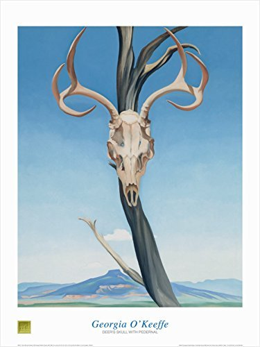 Buyartforless Deer's Skull with Pedernal by Georgia O'Keefe 32x24 Art Print Poster Famous Painting Creepy Tree Skull Mountain Range Blue Sky Landscape Background