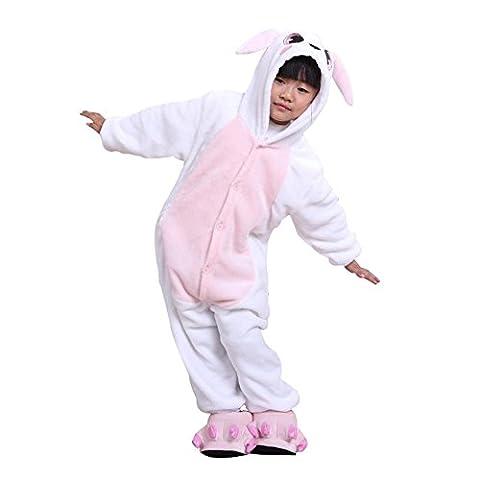 ABING Halloween Pajamas Homewear OnePiece Onesie Cosplay Costumes Kigurumi Animal Outfit Loungewear,Rabbit Chidren Size 105 -for Height:116-125cm