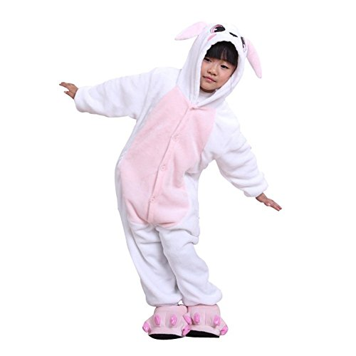 ABING Halloween Pajamas Homewear OnePiece Onesie Cosplay Costumes Kigurumi Animal Outfit Loungewear,Rabbit Chidren Size 115 -for (Couples Cosplay Costumes)
