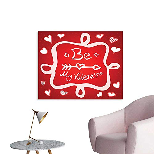 - J Chief Sky Romantic Wall Poster Traditional Greeting Card Design with Abstract Heart Shapes and an Ethnic Arrow Wall Picture Decoration W36 xL24