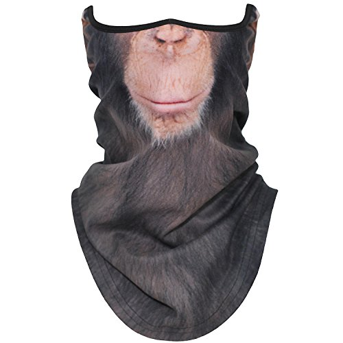 AXBXCX Animal 3D Prints Neck Gaiter Warmer Half Face Mask Scarf Windproof Dust UV Sun Protection for Skiing Snowboarding Snowmobile Halloween Cosplay Chimpanzee