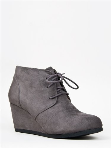 City Classified REX / Qupid Women's Lace up Ankle Bootie Wedge Charcoal IMSU US 7