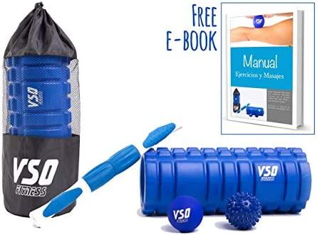VSO Products Rodillo de espuma Foam Roller - Rulo rehabilitación y bolas de masaje, el mejor kit de masaje (libro de ejercicios en castellano) - Ideal ...