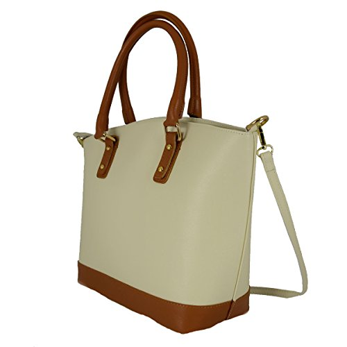 54502e65c9010 Echtes Leder Damen Handtasche Mit Metallfüßen Farbe Beige Cognac -  Italienische Lederwaren - Damentasche ...