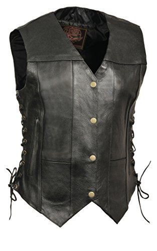 Milwaukee Leather Women's 6-Pocket Side Lace Vest (Black, Large)