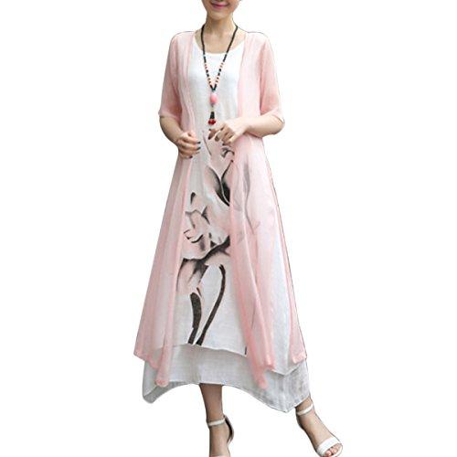 Honwenle Women's Two piece Retro Round Neck Asymmetric Hem Color Block Printed Long Cotton Linen Maxi Dress, XX-Large, (Clothes Pink Dress)