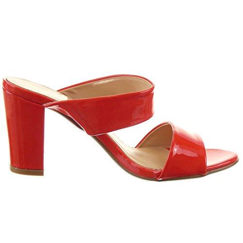 Sopily - Zapatillas de Moda Sandalias Tacón escarpín Abierto Bota bajas mujer brillantes Talón Tacón ancho alto 8 CM - Rojo