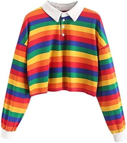 NOMUSING Crewneck Sweatshirt Women Aesthetic Color Stripe Button Long Sleeve Pullover Hoodies Jumper Tops Blouse Tunic