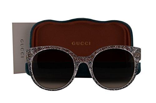 Gucci GG0035S Sunglasses Silver Crystal w/Grey Gradient Lens 007 GG - Crystal Sunglasses Gucci