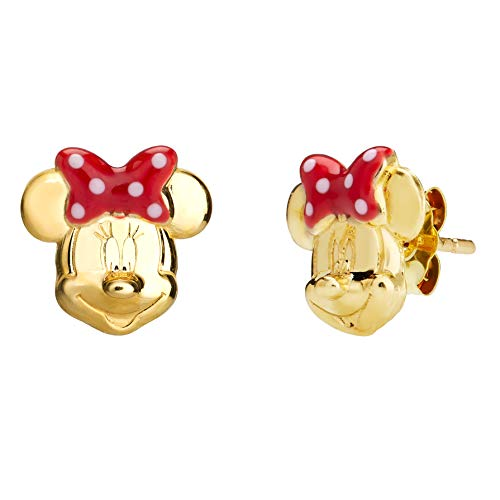 Disney Jewelry for Women and Girls, 10K GOLD Minnie Mouse Stud Earrings -