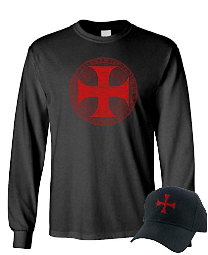Knights Templar Cross - Christian Jesus - LS Tee + Hat Combo, M, Black