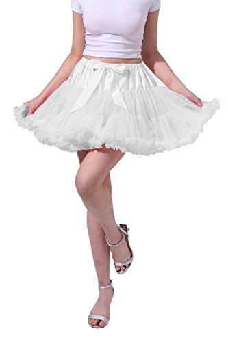 Tsygirls Women's 50s Vintage Bubble Skirt Crinoline Tutu Short Tulle Dance Petticoat Ballet Slip Chemise Underskirts White Size S-M