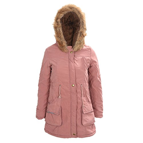 TOOGOO (R)Mujer Abrigo largo de acolchado grueso de invierno de piel encapuchado Ropa exterior Chaqueta -Rosa oscuro-M
