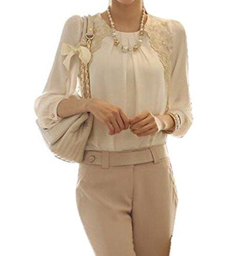 Women Elegant Crewneck Ruched Lace Chiffon 3/4 Sleeve Blouse Tops Shirt