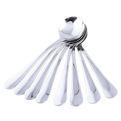 ZTTONE Spoon,8Pcs Stainless Coffee Spoon Round Shape Dessert Spoon Ice Cream Candy Tea Spoon
