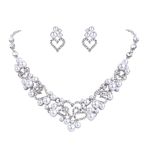 Costumes Bride Sweet Heart (FANZE Women's Austrian Crystal White Simulated Pearl ''Sweet Love Dream'' Heart Wedding Bridal Jewelry)