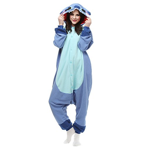 EONDEAR Women's Cosplay Adult Onesie Pajamas Kigurumi Cosplay Costumes Animal Outfit Stitch Blue XL -