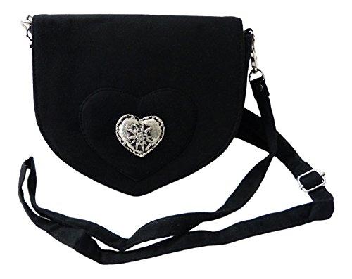 Elegante Trachtentasche im Wildleder-Look - Dirndltasche mit Herz Edelweiss Applikation fürs Dirndl (schwarz)