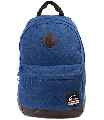 Alpine Swiss Midterm Backpack School Bag Bookbag 1 Yr Warranty Denim