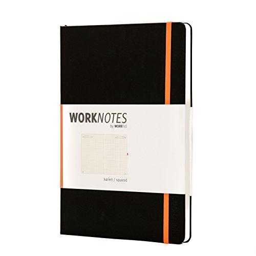 WORKNOTES - Notizbuch für Kreative & Macher, perforierte Seiten, 192 Seiten,kariert, A4, Hard Cover, schwarz