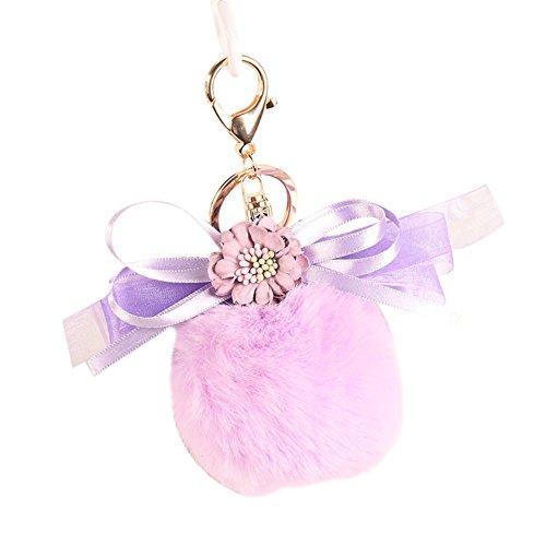 Heart Speaker Lovely Flower Ribbon Bowknot Pompom Plush Ball Keychain Bag Key Ring Ornament