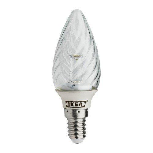 IKEA LEDARE bombilla LED E14; Velas en forma de; Transparente; Girar: Amazon.es: Iluminación
