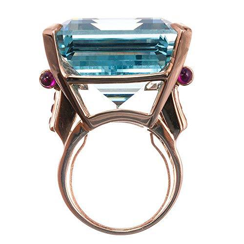 WoCoo Aquamarine Ring Emerald Cut Blue Rose Gold for Lovers(Multicoloured,Size 9) (Circle Pearl Design Cufflinks)