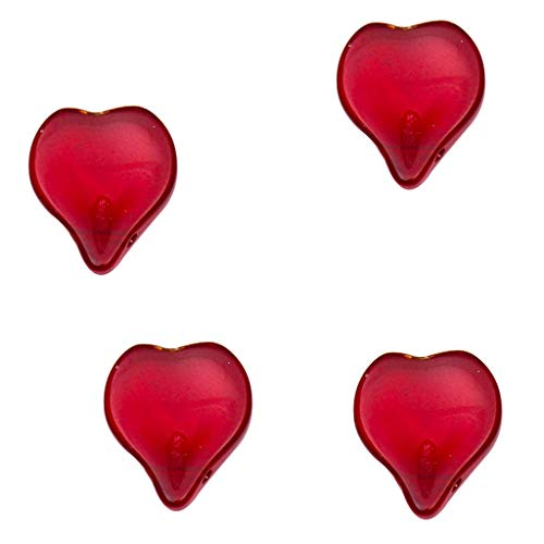 Prettyia 30 Pieces Heart Shape Czech Glass Loose Bead Beading Jewelry Making and Crafting 12mmx14mm DIY Hair Beads Accessories - Red ()