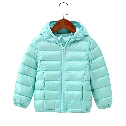 Children Lightweight Quilted Hooded Jacket for Boys and Girls Outwear Windproof Coats KD8708 Turquoise 5-6 Years ()